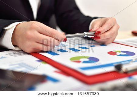 Accountant Woman Holding Pen