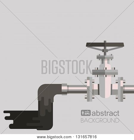 Background water pollution with pipe, valve on the pipe and waste water flowing out from pipe. Vector flat design illustration.