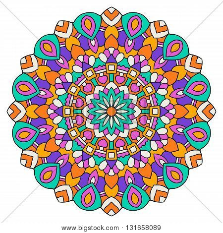 Round colored mandala on a white background. Turkish, Islamic, Oriental ornament.
