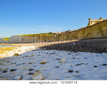 Birling Gap and Seven Sisters National Park view of the cliffs and the beach, East Sussex, England