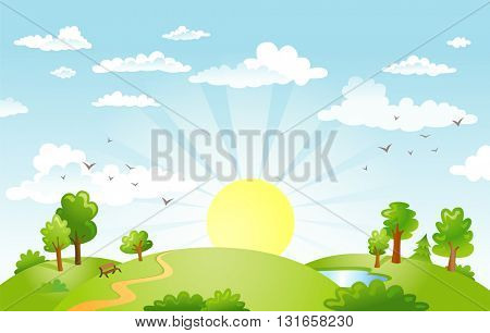 The green fields, the sun on the horizon