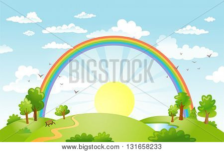 Rural scene with rainbow and bright sun and trees on sunny day