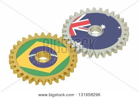 Brazil and Australia flags on a gears 3D rendering isolated on white background