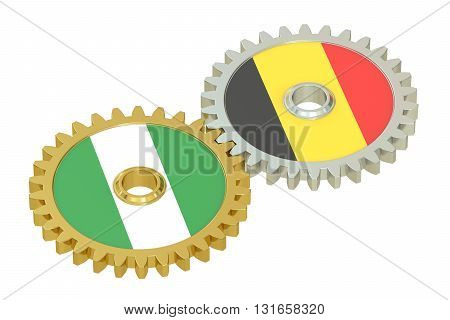 Nigeria and Belgium relations concept flags on a gears. 3D rendering isolated on white background
