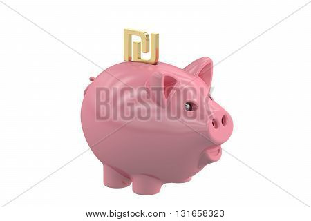 Piggy bank with symbol shekel 3D rendering isolated on white background