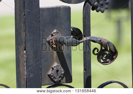 Close Up old Fence Decoration black steel