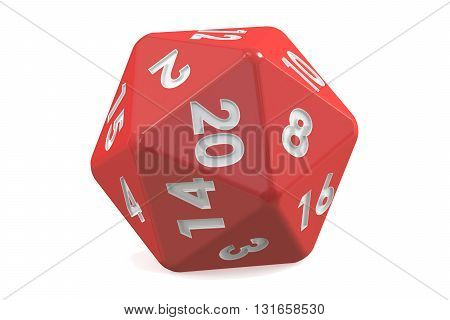 Red twenty-sided die 20 sides. 3D rendering