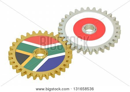 South Africa and Japan relations concept flags on a gears. 3D rendering isolated on white background