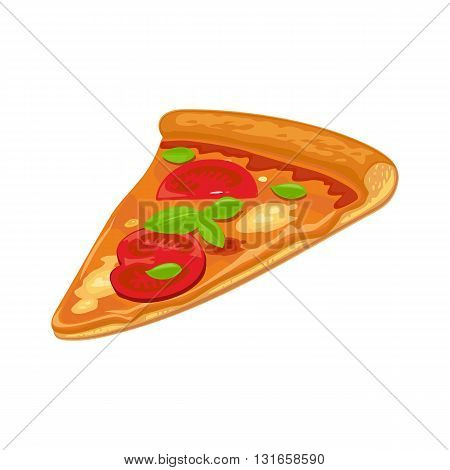 Slice of Margherita pizza hava. Isolated vector flat illustration for poster menus logotype brochure web and icon. White background