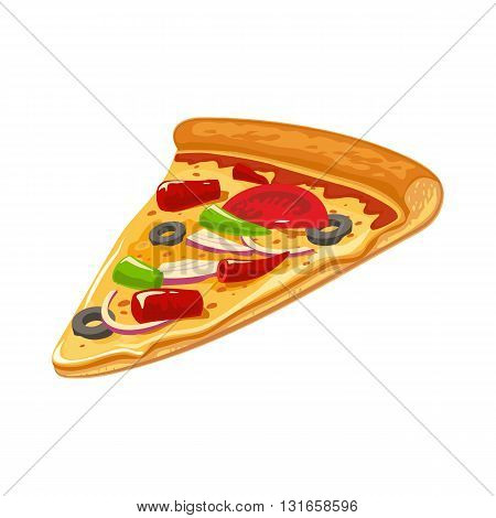 Slice of Mexican pizza. Isolated vector flat illustration for poster menus logotype brochure web and icon. White background