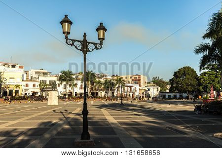 SANTO DOMINGO, DOMINICAN REPUBLIC - CIRCA JAN 2016: Plaza del Alcazar de Colon in Santo Domingo, Dominican Republic