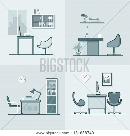 Office room workplace table chair interior indoor set. Linear stroke outline flat style vector icons. Monochrome icon collection.