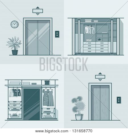 Wardrobe dressing room interior indoor elevator entrance door hall lift corridor set. Linear stroke outline flat style vector icons. Monochrome icon collection.