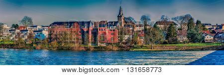 Artistic work of my own. HDR processing. Panorama and autumn idyll City of Essen Kettwig Germany.