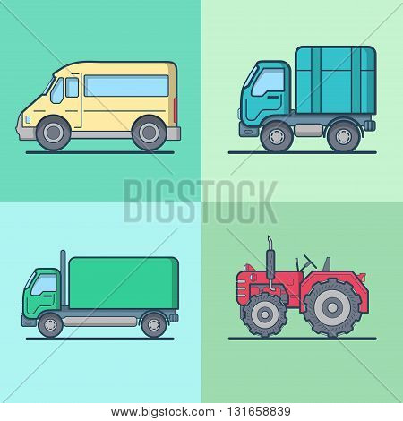 Bus Van Lorry Tractor road transport set. Linear multicolor stroke outline flat style vector icons. Color icon collection.