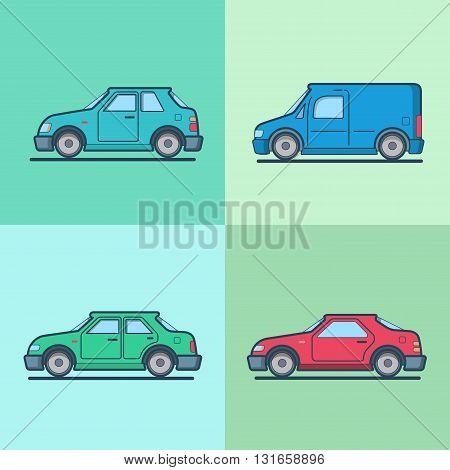 Motor passenger car van sportscar sedan hatchback road transport set. Linear multicolor stroke outline flat style vector icons. Color icon collection.