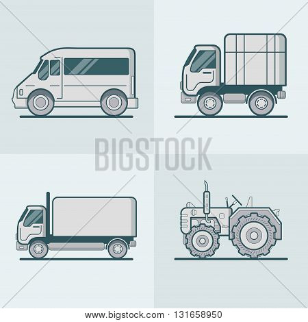 Bus Van Lorry Tractor road transport set. Linear stroke outline flat style vector icons. Monochrome icon collection.
