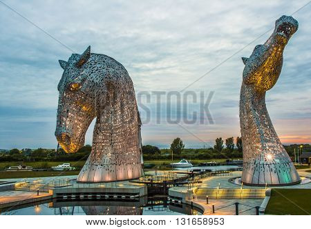 The Kelpies are 30-metre high horse-head sculptures, standing next to a new extension to the Forth and Clyde Canal, and near River Carron, in The Helix