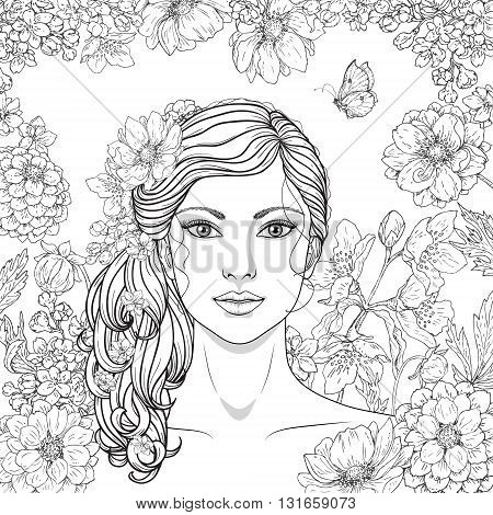 Hand drawn girl with flowers and butterfly. Doodle floral frame. Black and white illustration for coloring. Monochrome image of woman with long curly hair. Vector sketch.