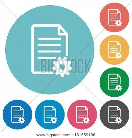 Flat document setup icon set on round color background.
