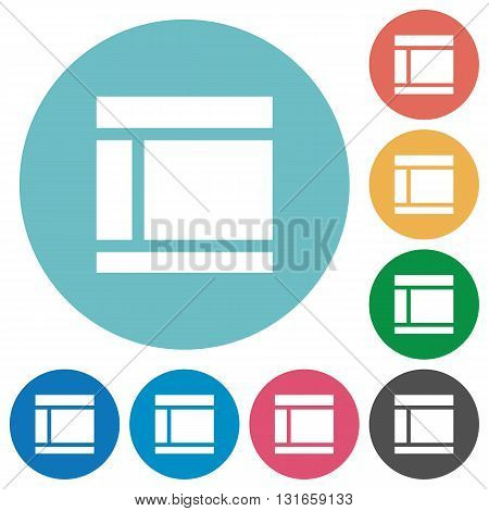Flat two columns web layout icon set on round color background.