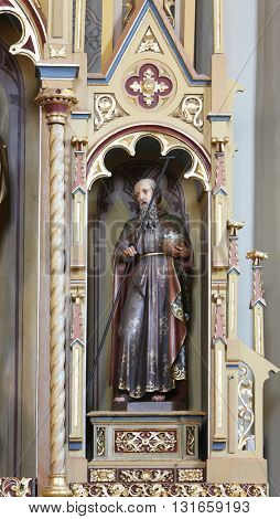 STITAR, CROATIA - AUGUST 27: St Joachim, father of the Virgin Mary, altarpiece on altar of Our Lady in the church of Saint Matthew in Stitar, Croatia on August 27, 2015