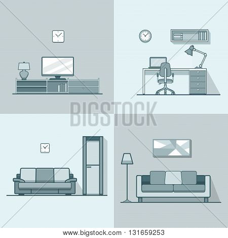 Condo accommodation living room cosy modern minimalism minimal interior indoor set. Linear stroke outline flat style vector icons. Monochrome TV set cabinet shelf stand sofa workplace icon collection.