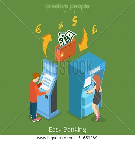 Easy bank business finance money flow 3d concept. Banking terminal ATM wallet currency exchange. Flat isometric isometry conceptual vector web site illustration template. Creative people collection