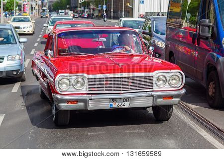 Berlin Germany - May 14 2016: classical Chevrolet car in Berlin. Chevrolet also referred to as Chevy is an American automobile division of the American manufacturer General Motors