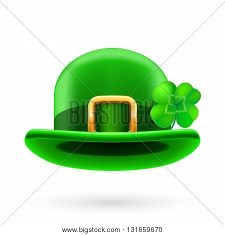 Green bowler hat decorated for Saint Patrick Day.