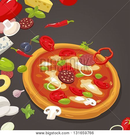 Whole pizza and the ingredients for the pizza. Isolated vector Flat style illustration