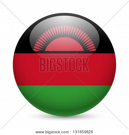 Flag of Malawi as round glossy icon. Button with Malawian flag
