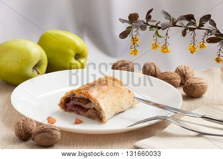 Slice of fresh baked homemade apple strudel with raisins, walnut and sugar powder and nuts