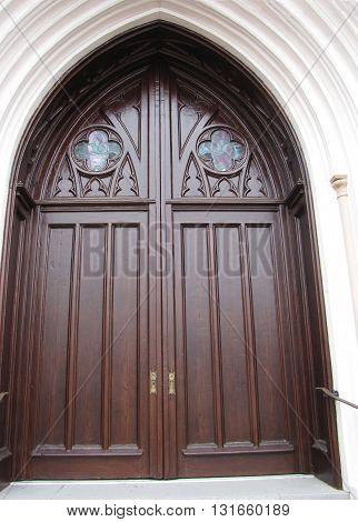 Beautiful Old Ornate Church Door in Savannah