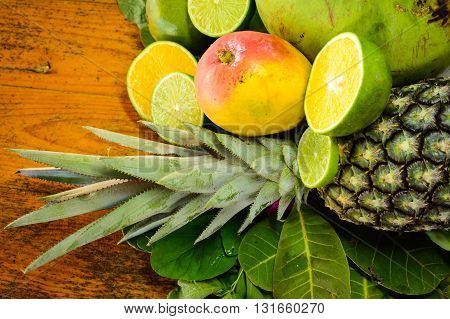 A mix of tropical colourfull fruits from Brazil.
