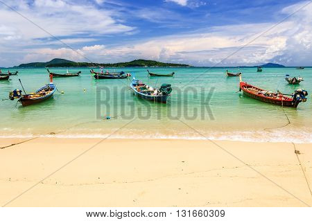 Long-tail boats at Rawai beach on southern tip of Phuket southern Thailand