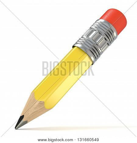 Yellow pencil. 3D render illustration isolated on white background