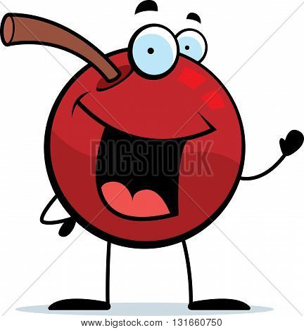 A happy cartoon cherry waving and smiling.