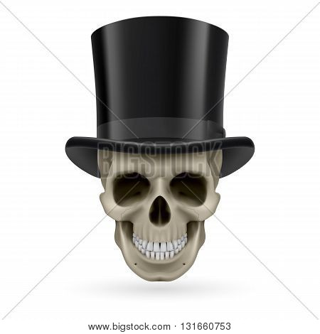 Human skull wearing a black top hat.