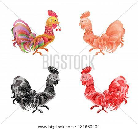 Cockerel on white  background.  Chicken color illustration