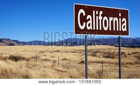 California Brown Road Sign