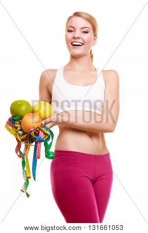 Happy Woman Holding Grapefruits And Tape Measures.