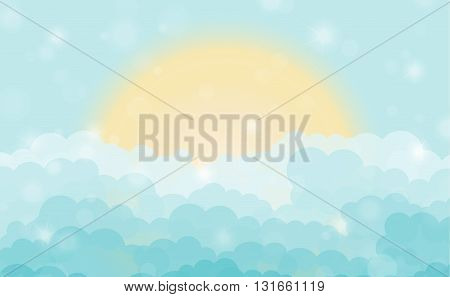 Cartoon Blue Shining Cloudy Sky With Sun. Vector Illustration