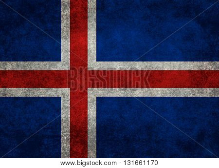 Icelandic national flag with a grungy textured treatment