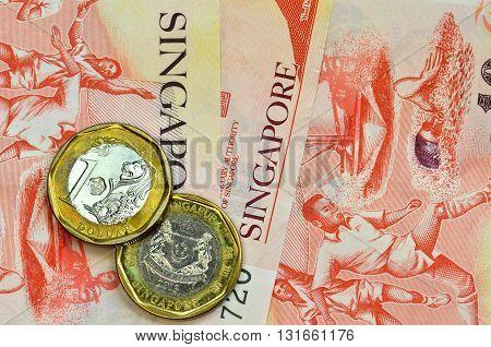 Singapore Money On White Background