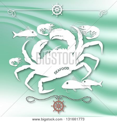 Vector illustration with isolated crab, fishes, shrimps and nautical design elements helm, rope  on wave aquamarine background.