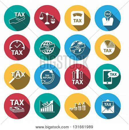 flat long shadow tax and money icons set.vector. illustration