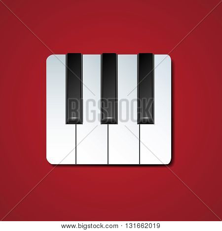 Piano Keys Icon With Drop Shadow Isolated On Red Background | Vector EPS 10