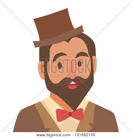 Groom cartoon icon. Flat man. Bearded man in hat and bow tie. Man icon illustration. Hipster character. Face people icon cartoon style. Young people head flat icons.Isolated avatar on white background