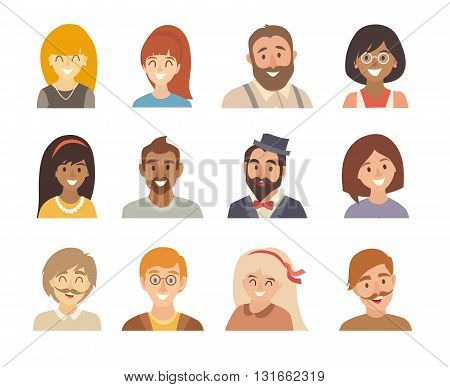 People icon vector set. Happy man and woman different nationalities. Avatars girl and boy. Cartoon people head illustration. Isolated on white background. Asian african american european people